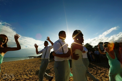 fun wedding party portrait silhouette #travelforlove destination wedding Gabi bridge Paradisus Playa del Carmen Mexico