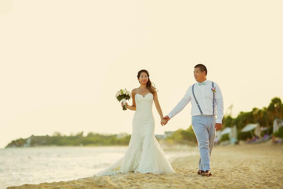 sunset romantic portrait destination wedding Gabi bridge Paradisus Playa del Carmen Mexico