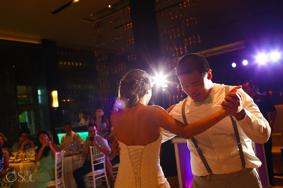 fun wedding portrait idea groom serving bride at the bar destination wedding Gabi bridge Paradisus Playa del Carmen Mexico