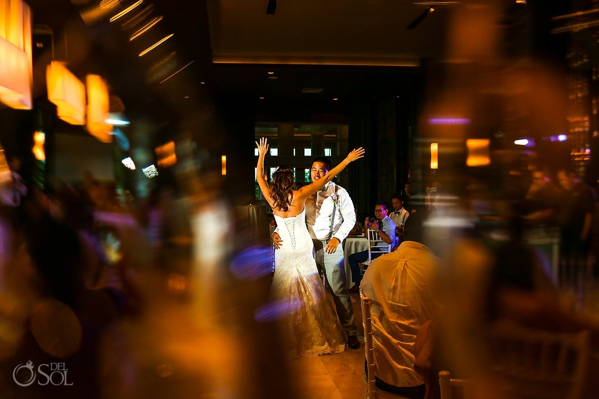 first dance destination wedding reception Hadar Restaurant Paradisus Playa del Carmen Mexico