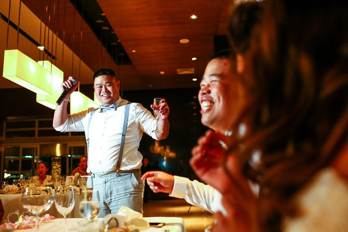 toasts destination wedding reception Hadar Restaurant Paradisus Playa del Carmen Mexico