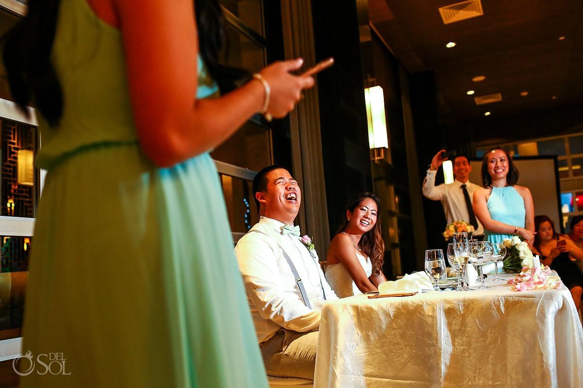 speehes destination wedding reception Hadar Restaurant Paradisus Playa del Carmen Mexico
