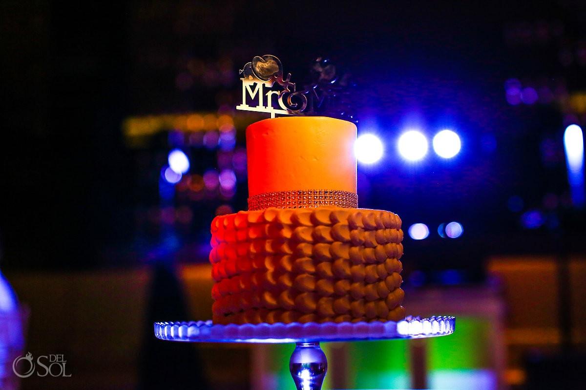 wedding cake with cute elephant cake topper destination wedding reception Hadar Restaurant Paradisus Playa del Carmen Mexico