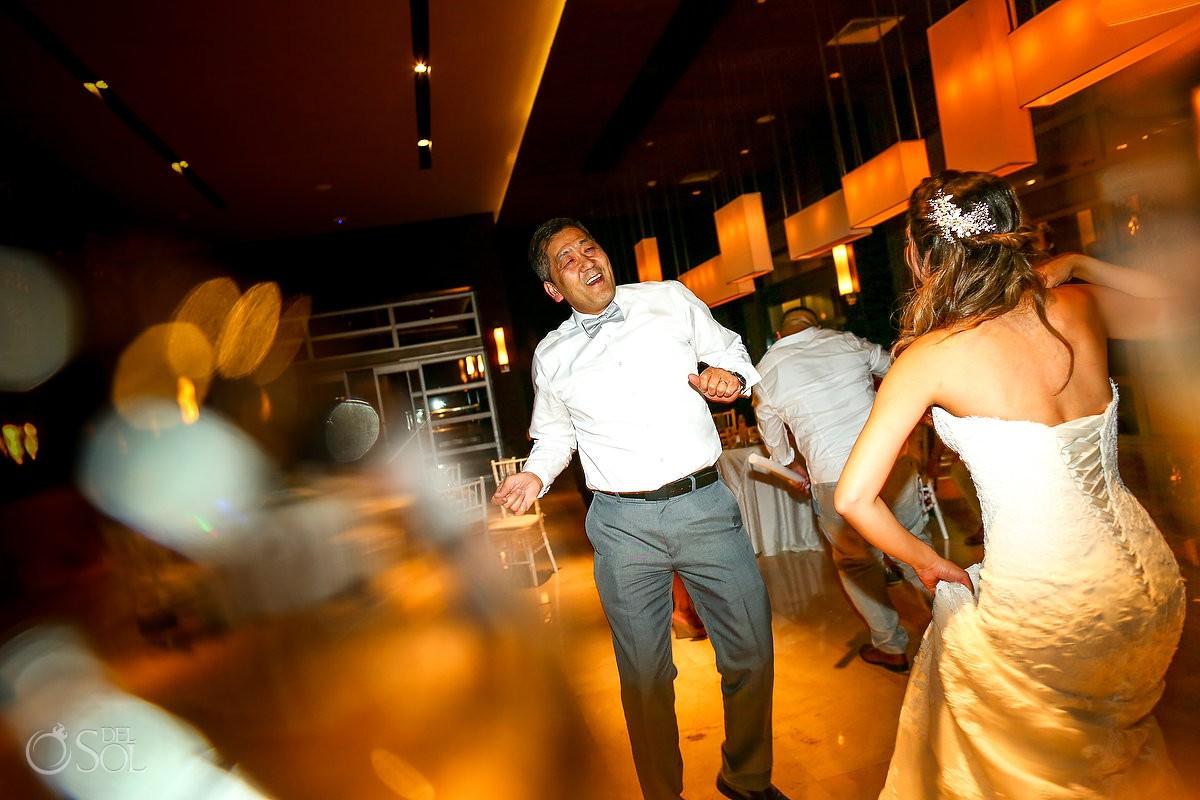 party pictures dancing destination wedding reception Hadar Restaurant Paradisus Playa del Carmen Mexico
