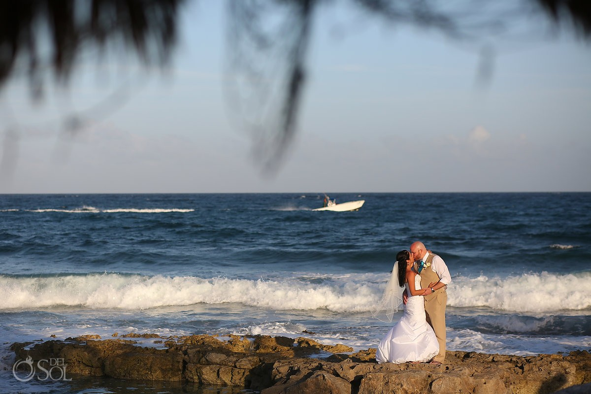 Bride and groom beach wedding portrait Dreams Puerto Aventuras Riviera Maya Mexico