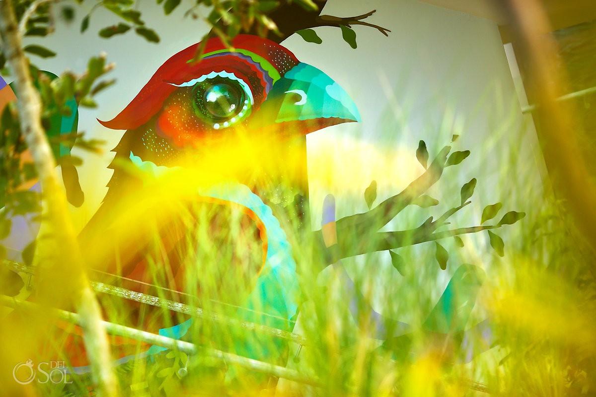 Northern Cardinal Cardinalis cardinalis bird mural by Riviera Maya graffiti artist Senkoe Andaz Mayakoba Playa del Carmen Mexico