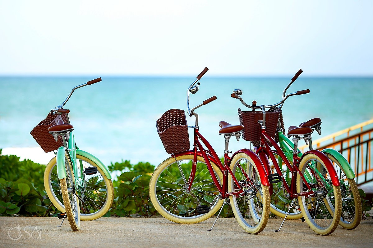 bicycles in front of the ocean Andaz Mayakoba Playa del Carmen Mexico