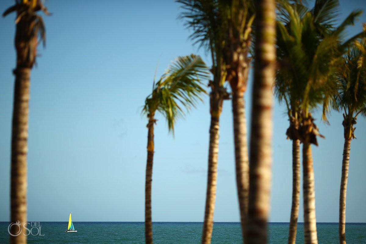 Caribbean beach view palm trees catamaran Andaz Mayakoba Playa del Carmen Mexico