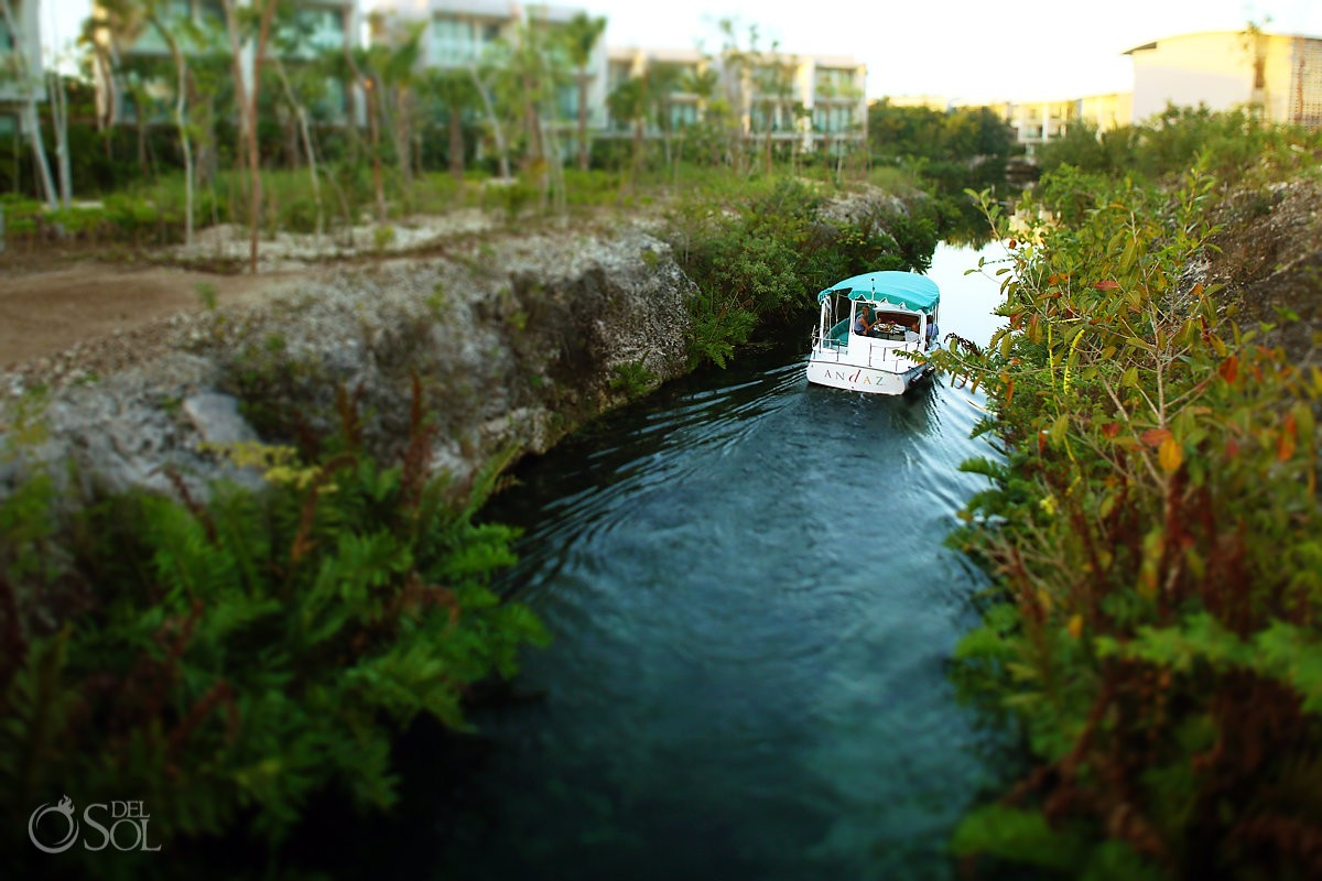 Andaz Mayakoba electric eco boat in the mangrove canals Playa del Carmen Mexico