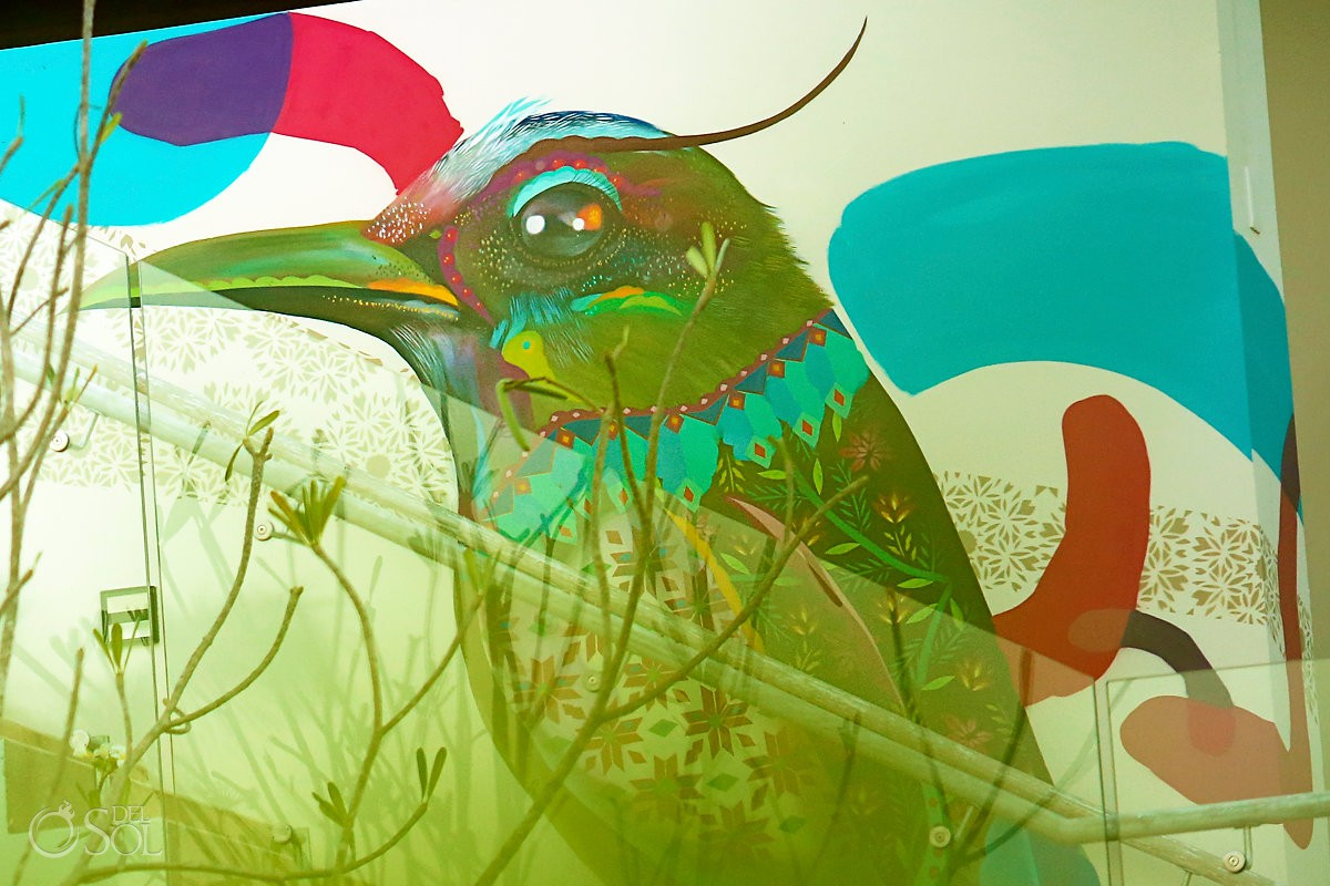 mott mott bird mural by Riviera Maya graffiti artist Senkoe Andaz Mayakoba Playa del Carmen Mexico