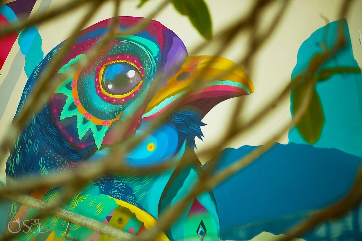 Violaceous trogon Trogon violaceus bird mural by Riviera Maya grafitti artist Senkoe Andaz Mayakoba Playa del Carmen Mexico