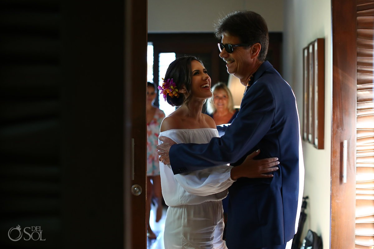 bride and father getting ready Playa del Carmen Boutique Wedding Viceroy Riviera Maya