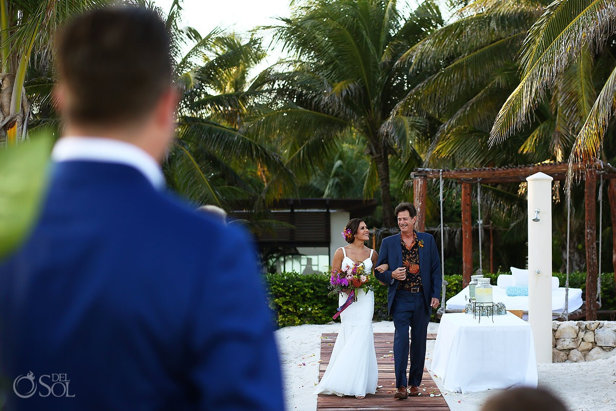 Bride entrance beach wedding ceremony Playa del Carmen Boutique Viceroy Riviera Maya