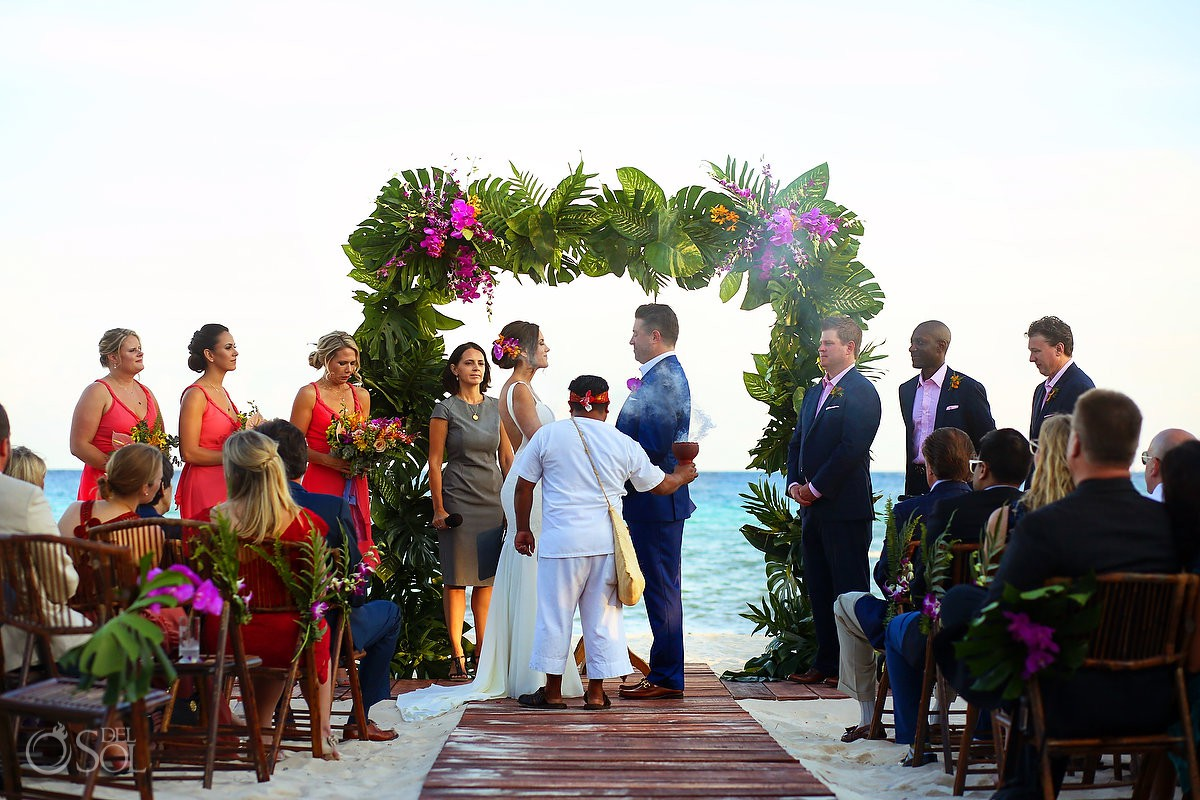 shaman blessing bride and groom with copal beach wedding ceremony Playa del Carmen Boutique hotel Viceroy Riviera Maya