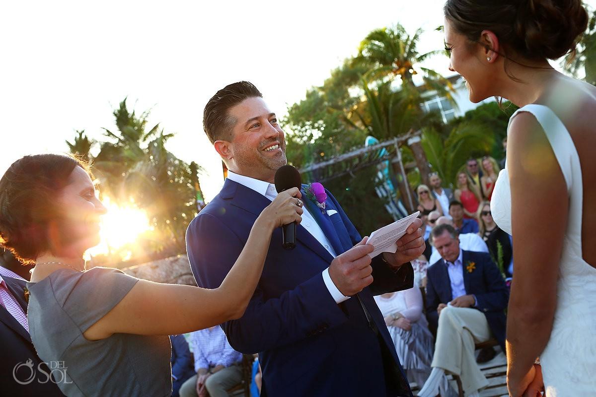 Groom vows Playa del Carmen Boutique Wedding Viceroy Riviera Maya
