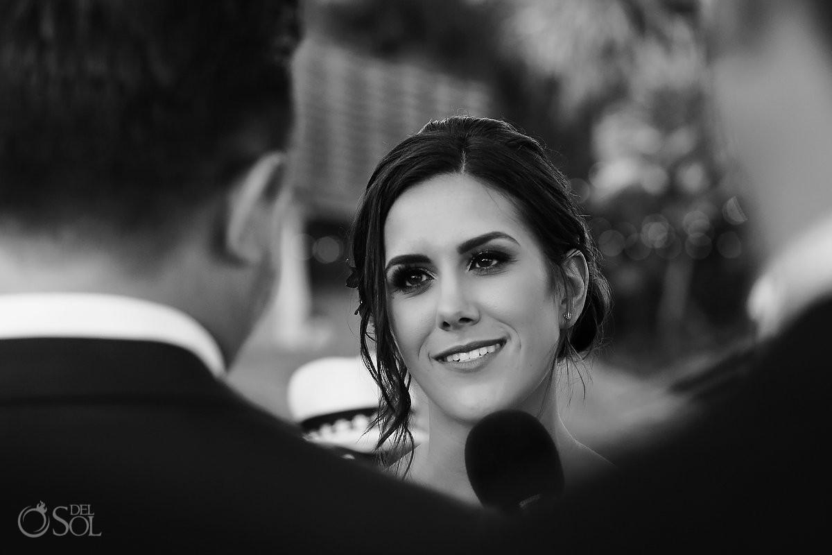 bride vows black and white Playa del Carmen Boutique Wedding Viceroy Riviera Maya