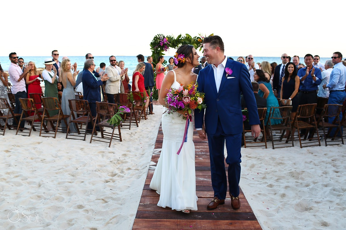 ceremony exit Playa del Carmen Boutique Wedding Viceroy Riviera Maya