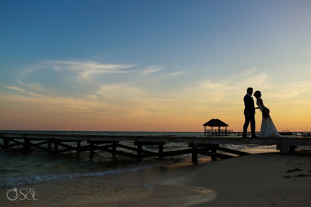 sunset silhouette portrait Playa del Carmen Boutique Wedding Viceroy Riviera Maya