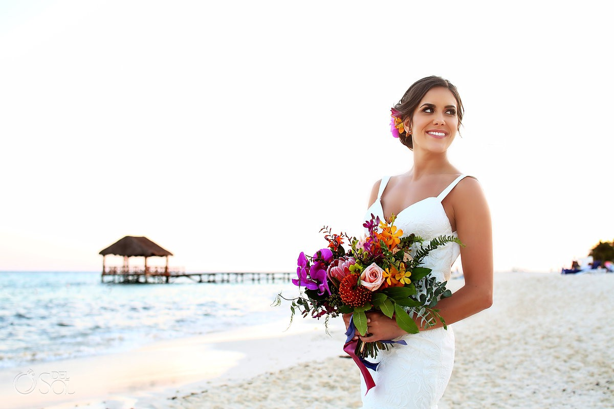 bride beach portrait Playa del Carmen Boutique Wedding Viceroy Riviera Maya