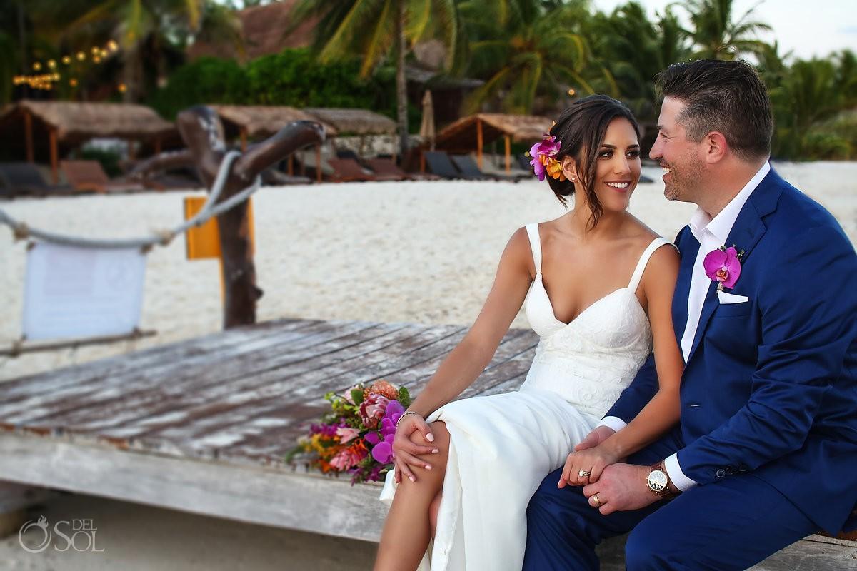bride groom portrait Playa del Carmen Boutique Wedding Viceroy Riviera Maya