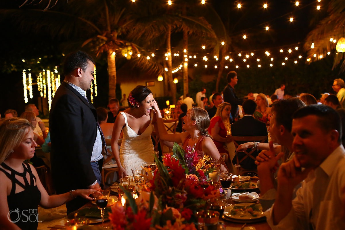 guest hugs poolside destination wedding reception Playa del Carmen Boutique hotel Viceroy Riviera Maya