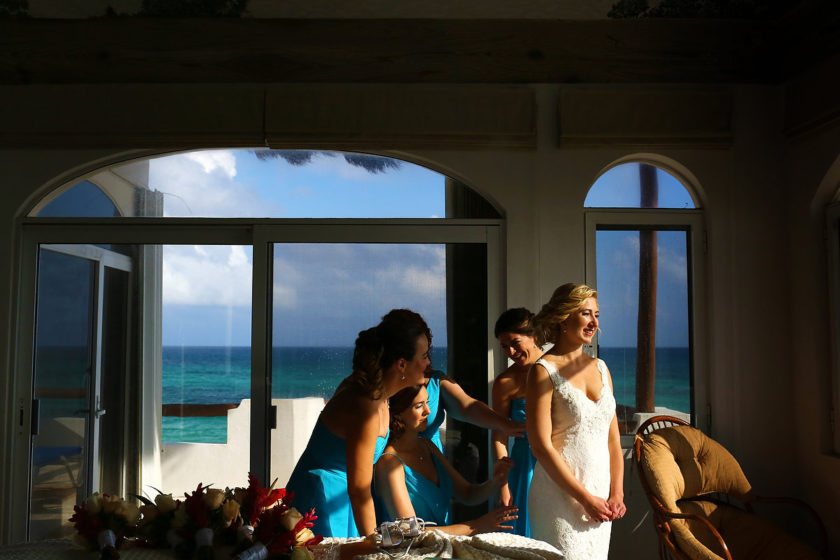 Beautiful light bride getting ready destination wedding Hacienda del Secreto Riviera Maya