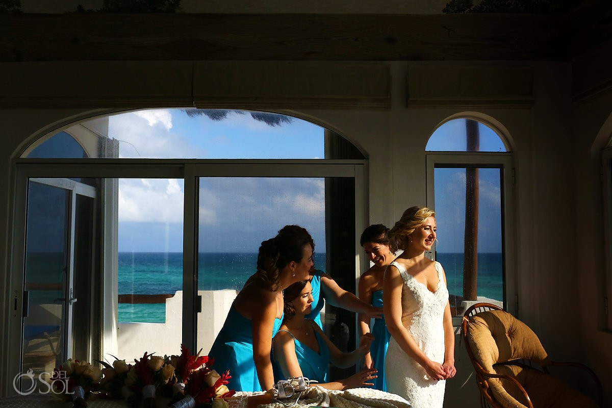 Beautiful light bride getting ready destination wedding Hacienda del Secreto Riviera Maya