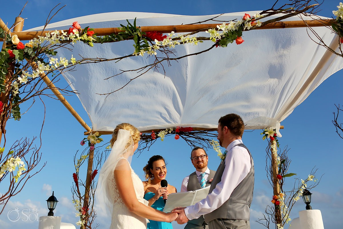 Wedding ceremony friends officiant Destination wedding Hacienda del Secreto Riviera Maya Playa del Secreto Mexico
