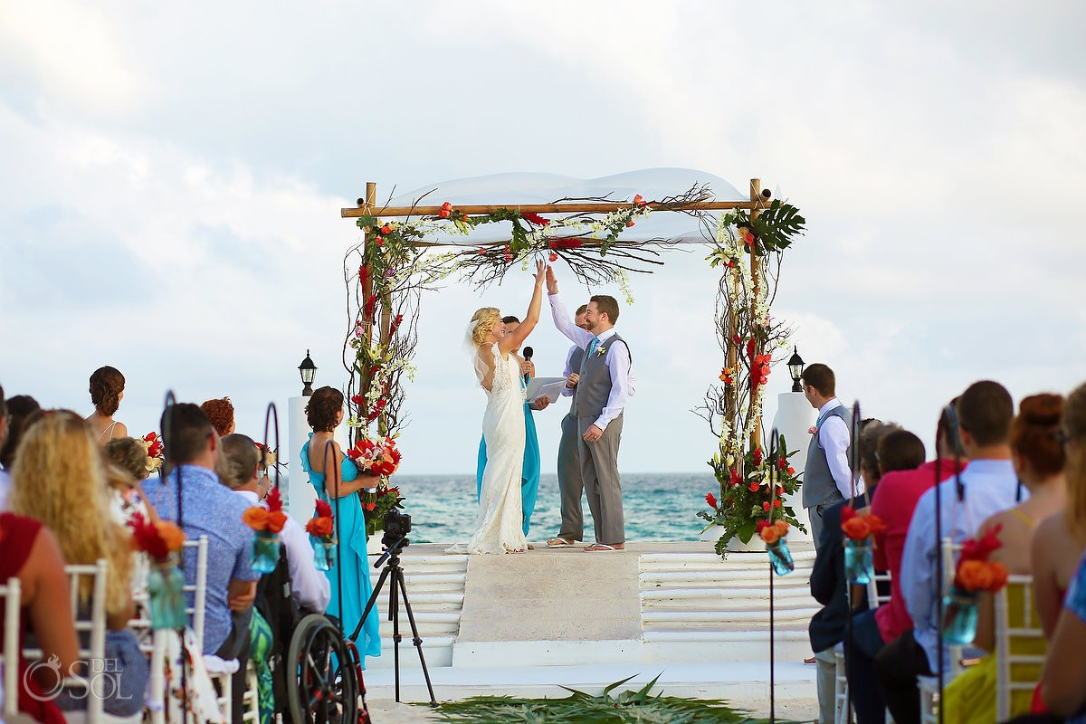 Hi five just married fun moments Destination Wedding Hacienda del Secreto Riviera Maya