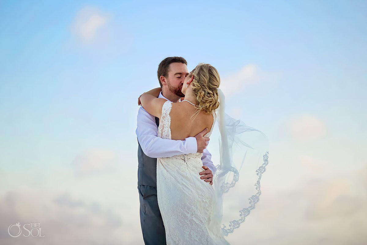Beautiful wedding portrait wind of love Destination Wedding Hacienda del Secreto Riviera Maya