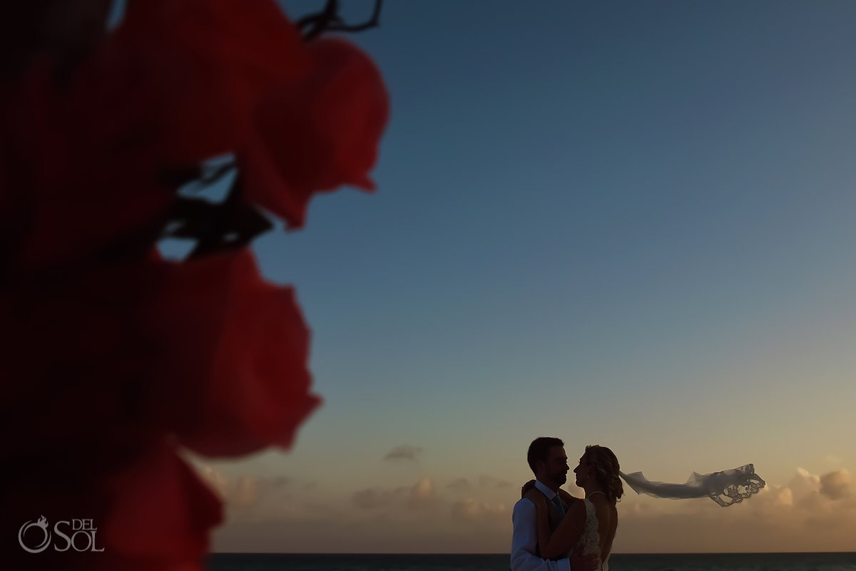 Artistic sunset silhouette bride and groom Destination Wedding Hacienda del Secreto Riviera Maya