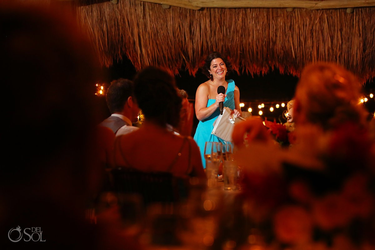 Bride maid speech wedding reception Hacienda del Secreto Riviera Maya