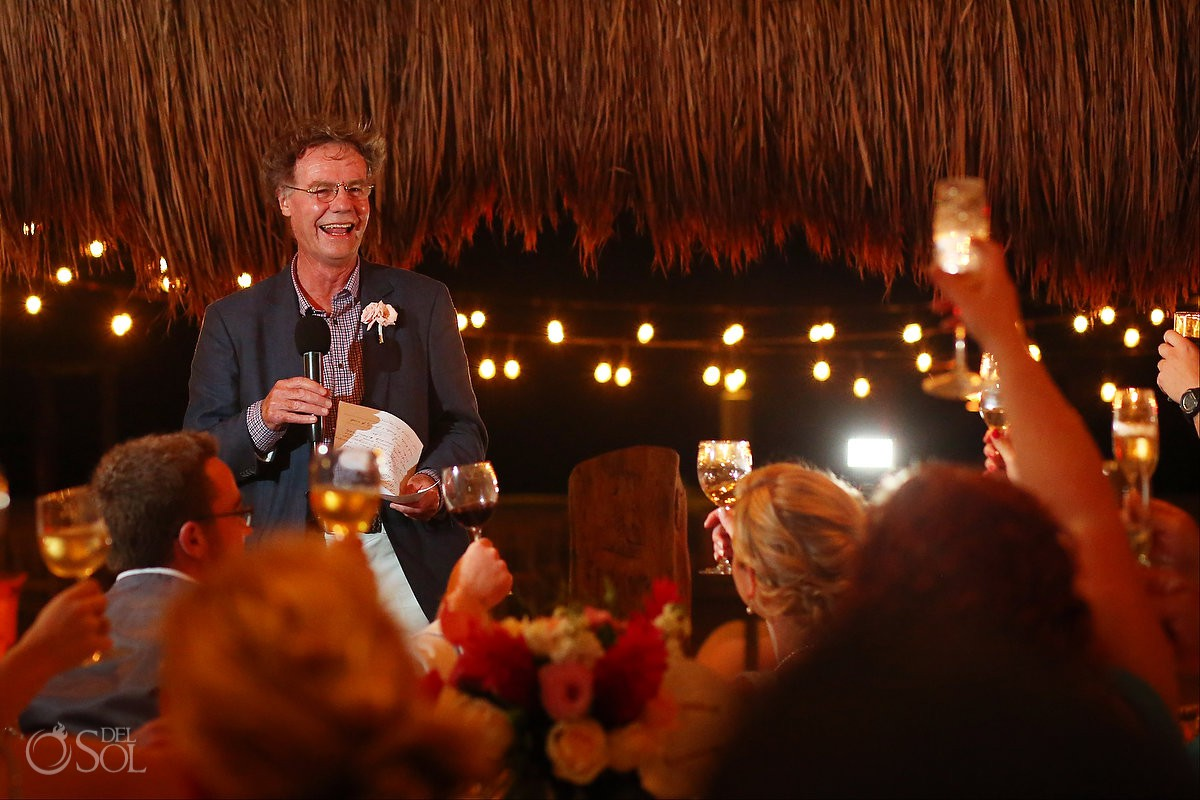 Dad speech wedding reception Destination Wedding Hacienda del Secreto Riviera Maya