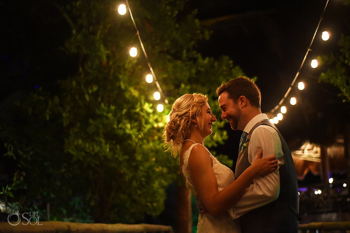 Romantic low light bride and groom portrait Destination wedding Hacienda del Secreto Riviera Maya, Playa del Secreto, Mexico