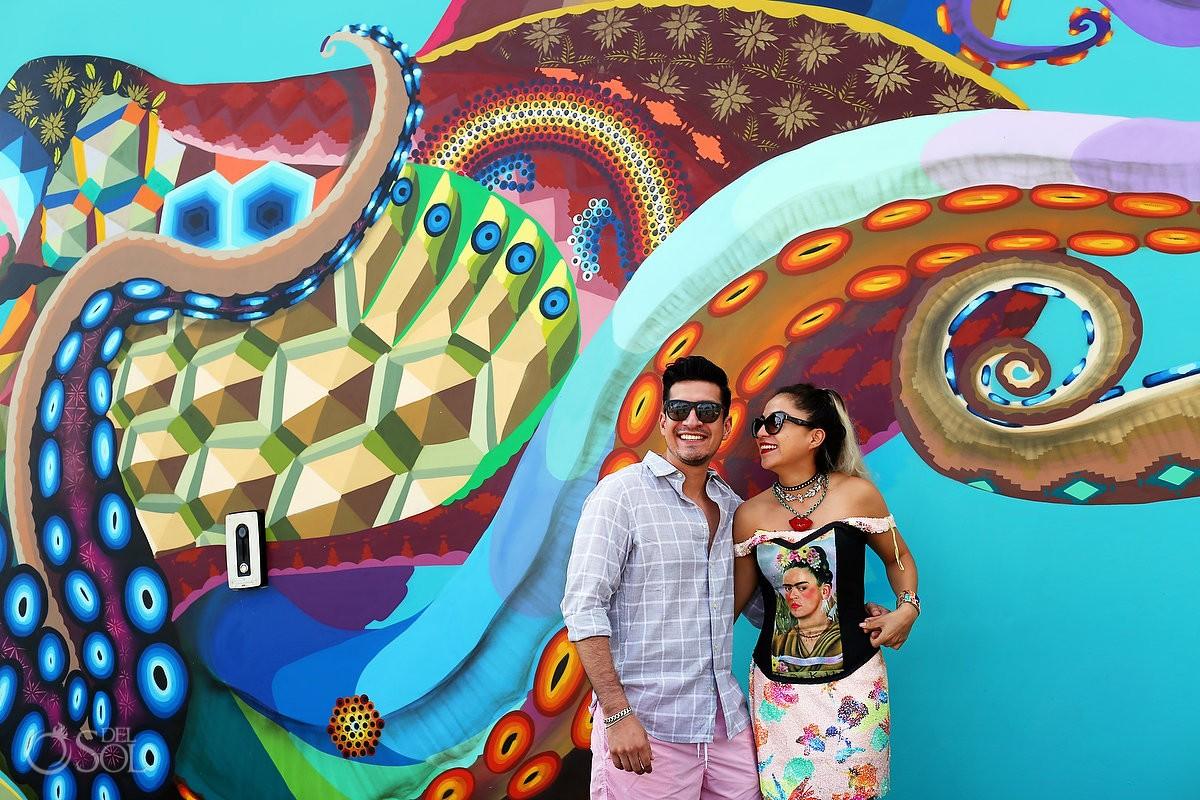 el pulpo mural by Riviera Maya graffiti artist Senkoe Diana Villalobos Barrera, Andaz Mayakoba Riviera Maya Mexico