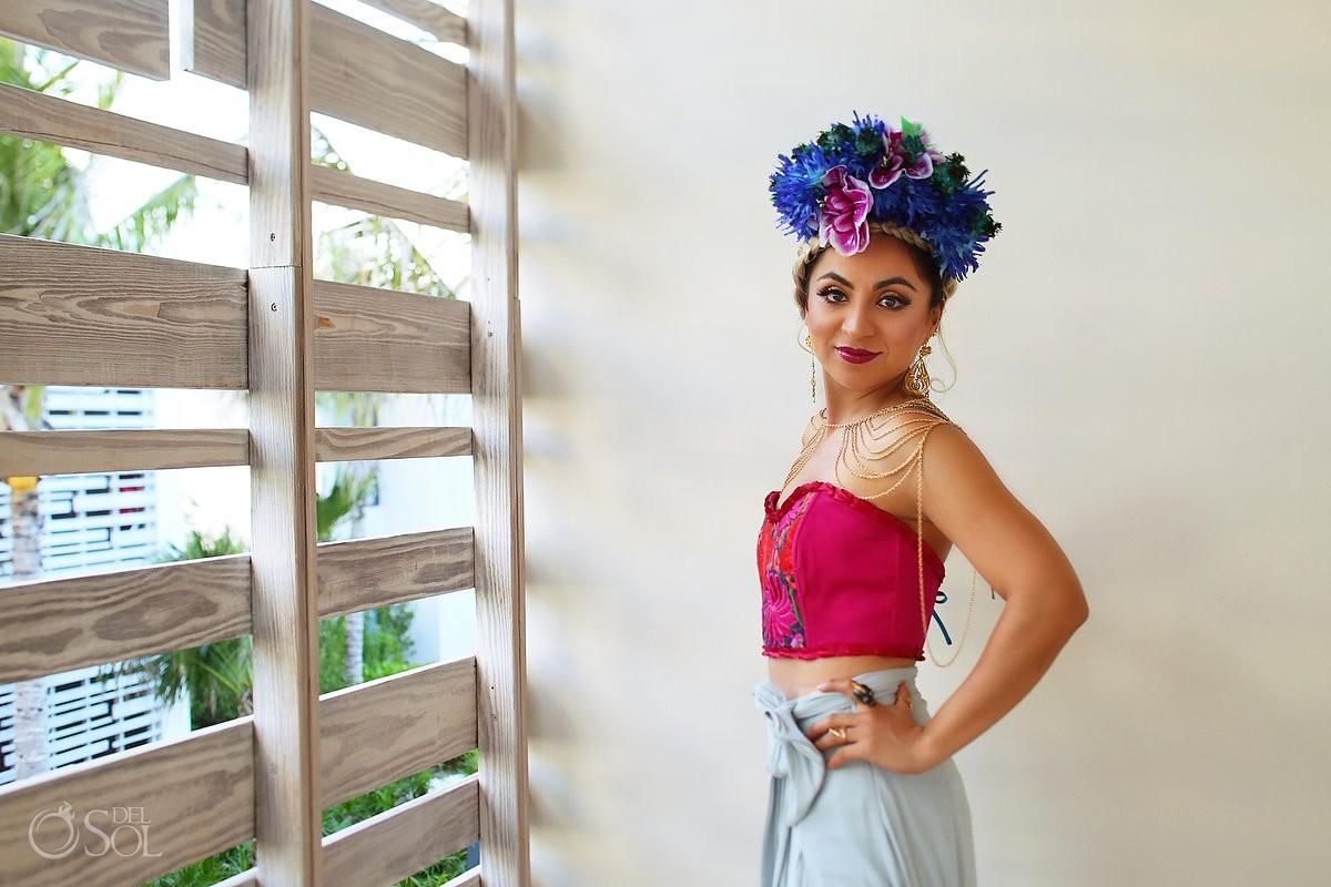 hand made embroidered corset, mexican designer Diana Villalobos Barrera, Andaz Mayakoba Riviera Maya Mexico
