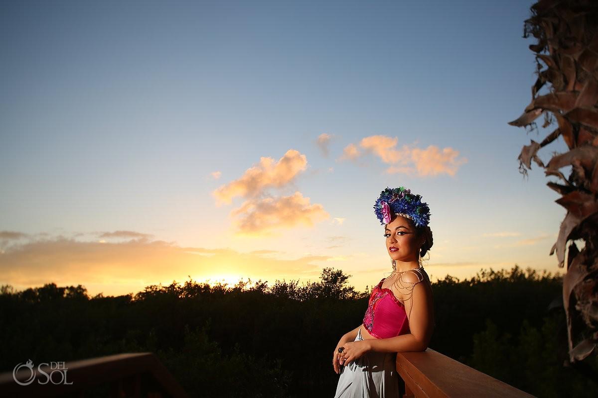 Sunset portrait Diana Villalobos Barrera, Andaz Mayakoba Riviera Maya Mexico