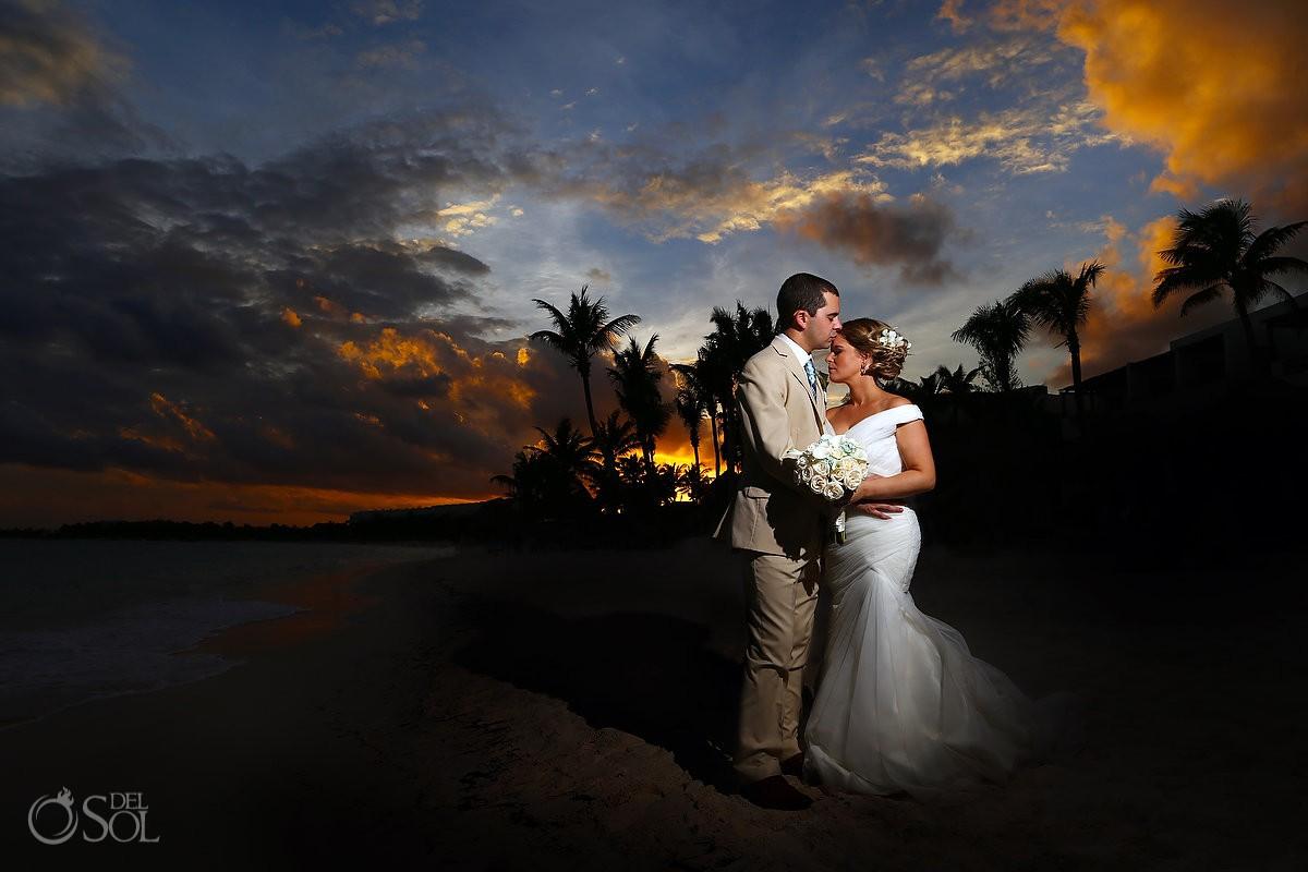 sunset beach destination wedding portrait Secrets Akumal Riviera Maya Mexico