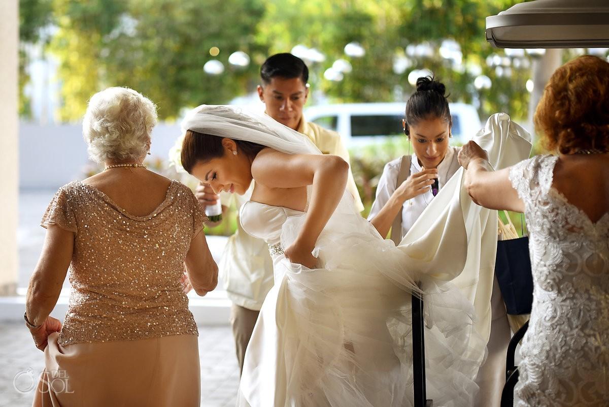 bride making her way to wedding ceremony Playa del Carmen Paradisus Riviera Maya