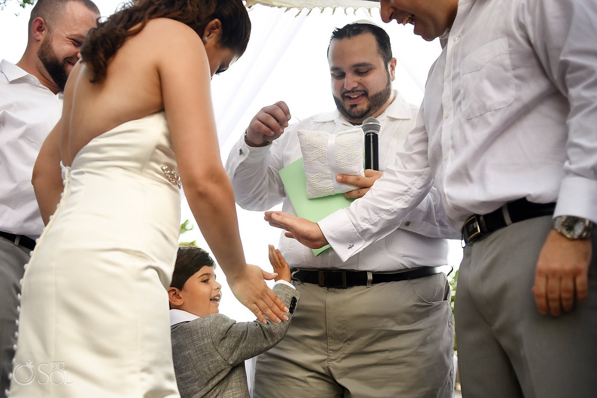 Playa del Carmen Jewish Wedding ring bearer high five Paradisus Riviera Maya Gabi Bridge