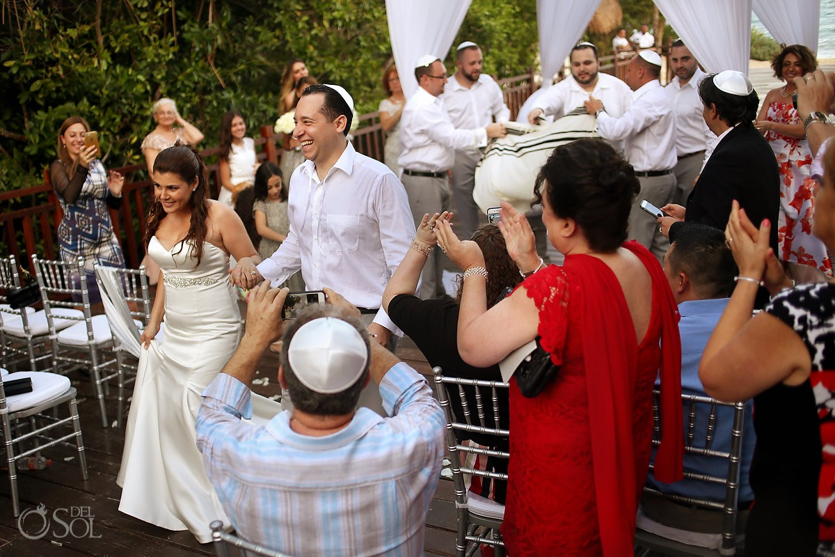 ceremony exit Playa del Carmen Jewish Wedding Paradisus Riviera Maya Gabi Bridge