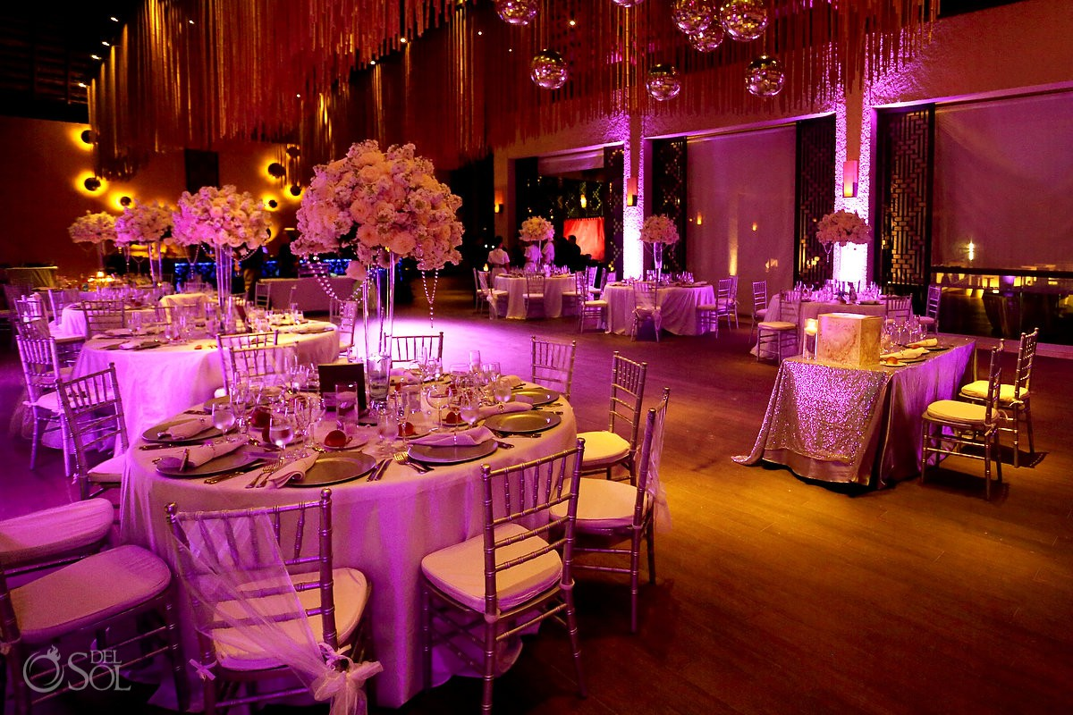 Playa del Carmen destination pink wedding reception set up Paradisus Riviera Maya Gabi Club