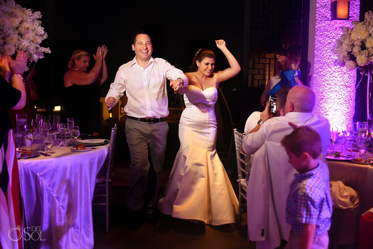Bride and groom entrance Playa del Carmen destination wedding reception Paradisus Riviera Maya Gabi Club