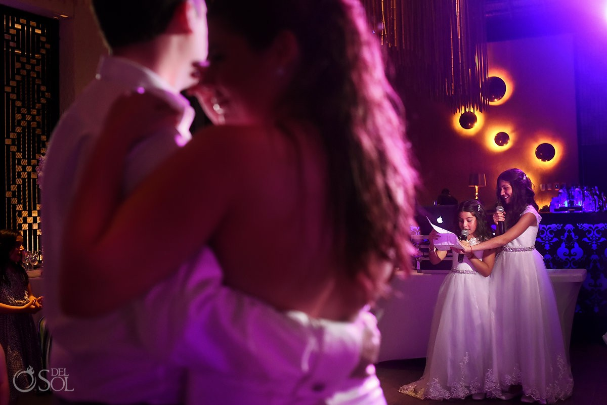Playa del Carmen destination wedding reception ideas flower girls singing during first dance Paradisus Riviera Maya Gabi Club