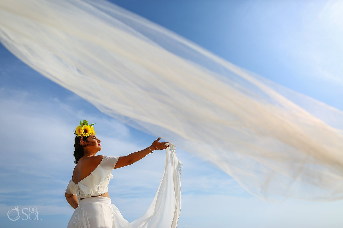 Artistic beach bride portrait Playa del Carmen México.