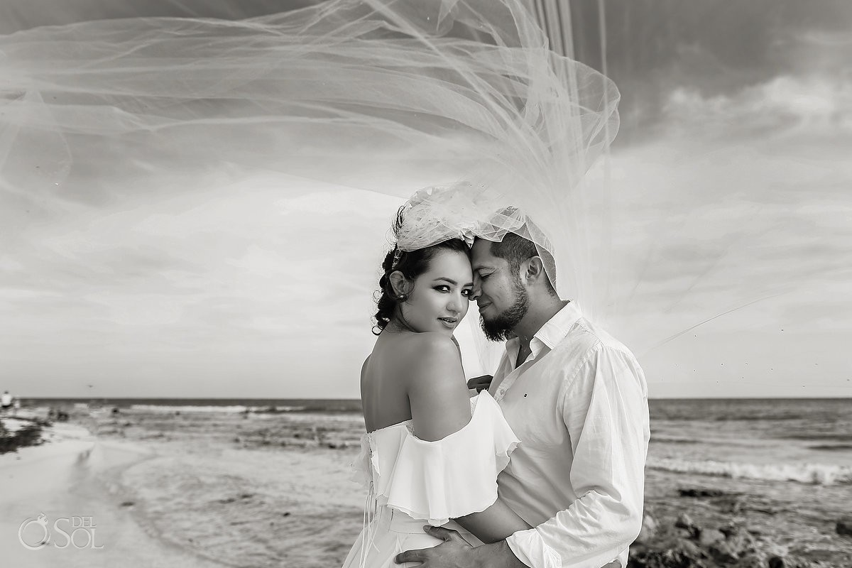 bride and groom beach trash the dress Playa del Carmen México.