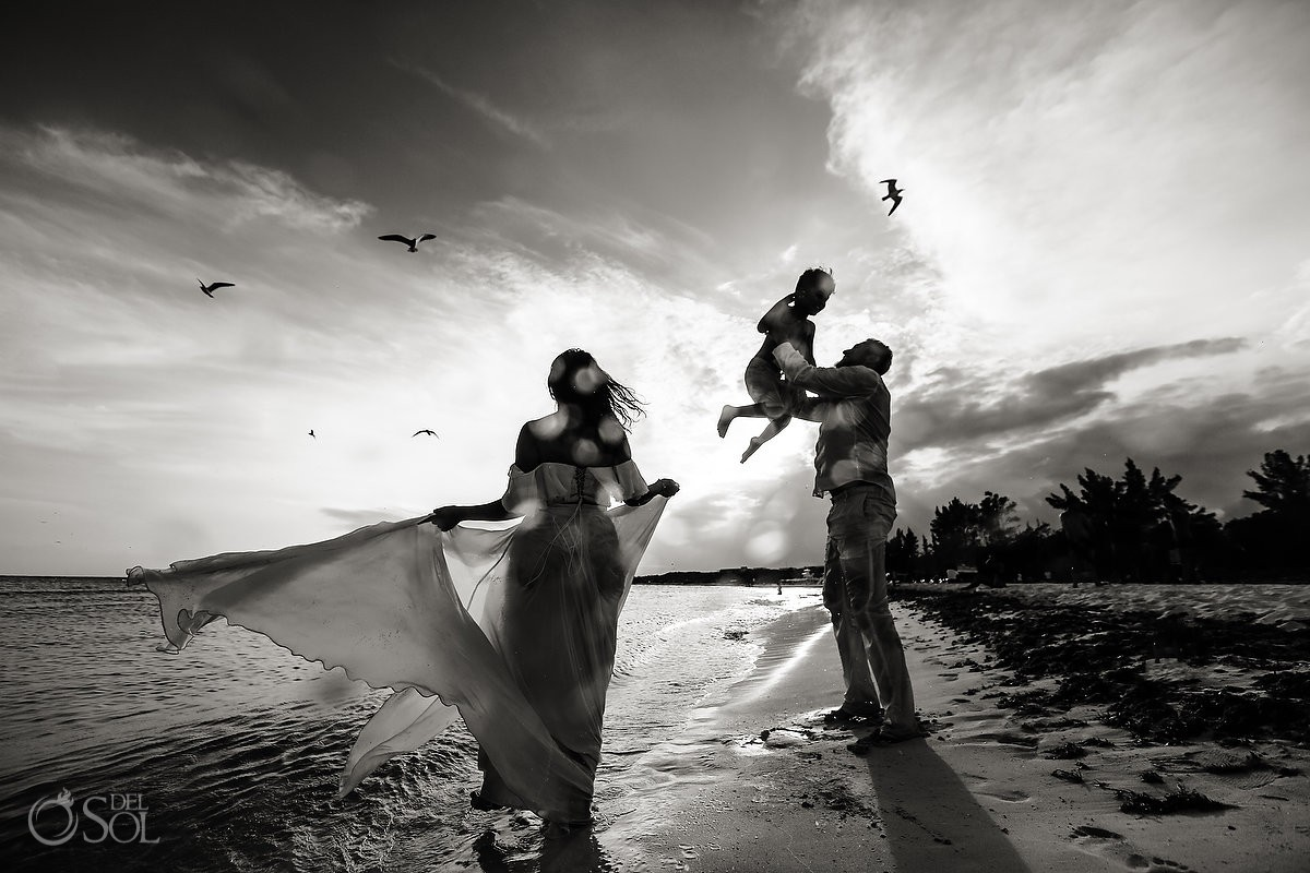 Family love sunset beach trash the dress Playa del Carmen México.