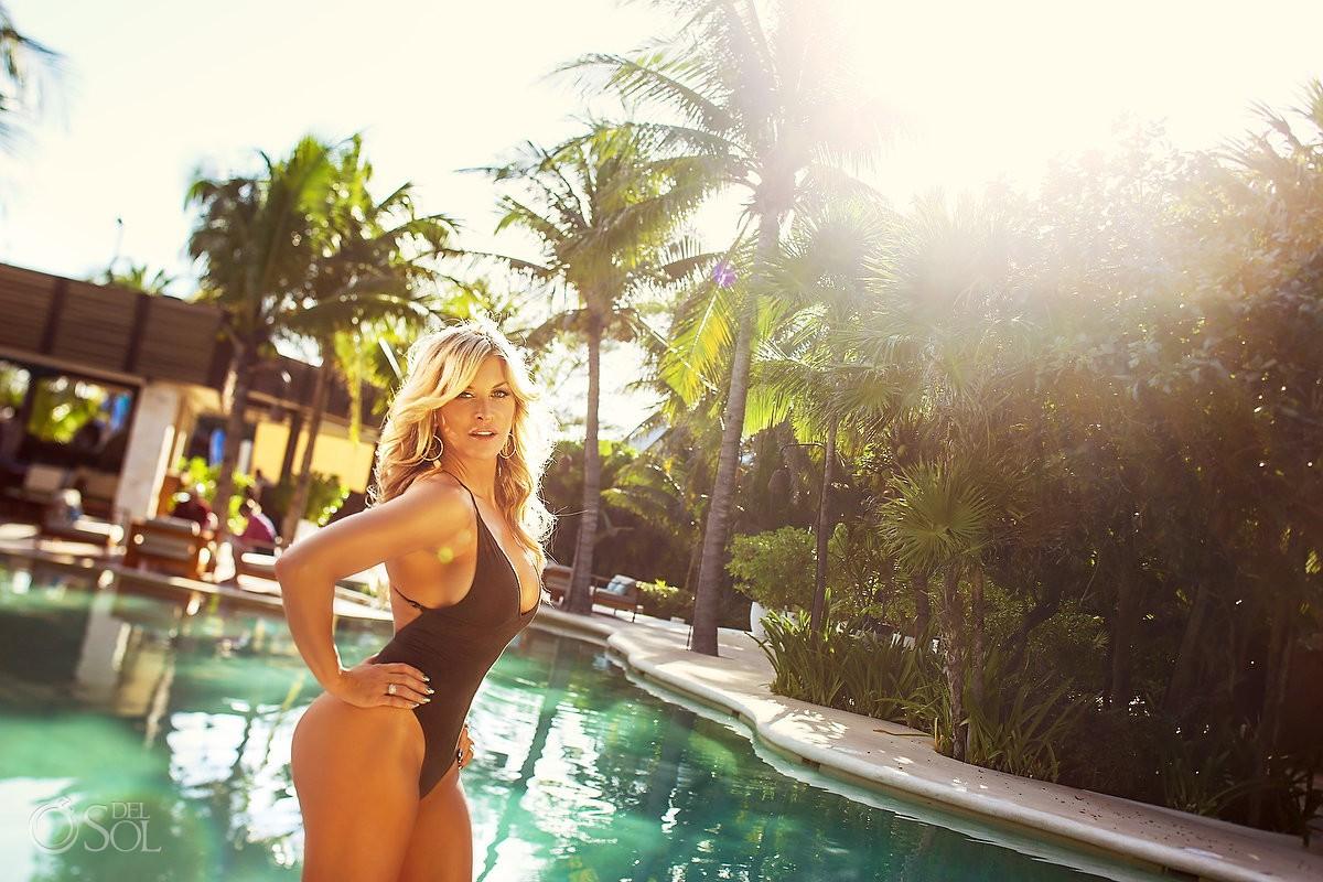 Farrah Fawcett style Allison Dunbar bikini swimwear shoot Viceroy Riviera Maya Playa del Carmen Mexico