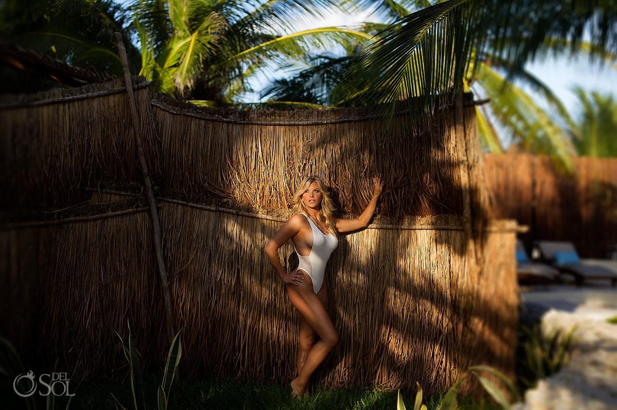 Farrah Fawcett Charlies angels inspired swimwear photoshoot Allison Dunbar Viceroy Riviera Maya Playa del Carmen Mexico