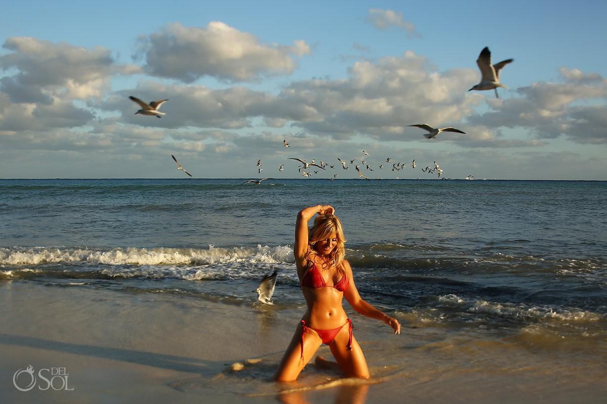 Allison Dunbar Smokeshow burlesque dancer bikini swimwear shoot Viceroy Riviera Maya Playa del Carmen Mexico